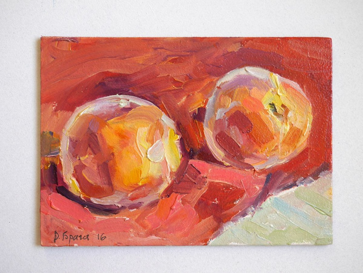 Two Peaches on a red - Image 0