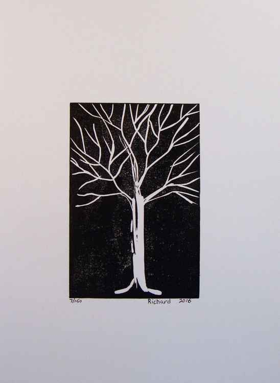 white on black tree