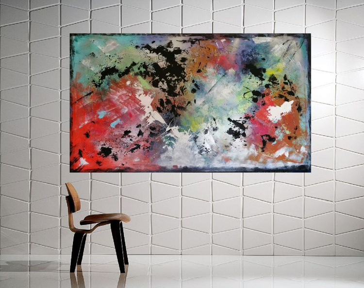 51''x29'',BREAKING DAWN 2,  extra large abstract painting, urban art, large canvas art,  green shades - Image 0