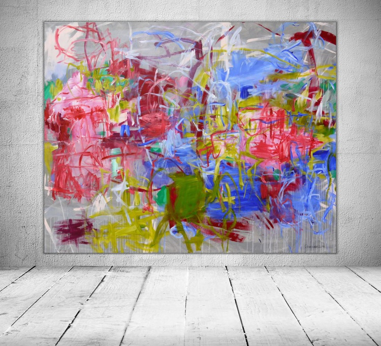 A Walk in the Park | extra large abstract Landscape Painting | 160 x 200 cm | pink green white blue grey - Image 0