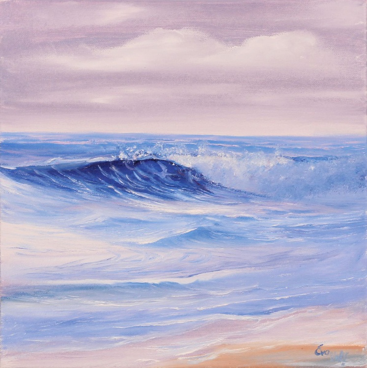 "Escape 12x12"" small seascape oil painting on canvas - Image 0"