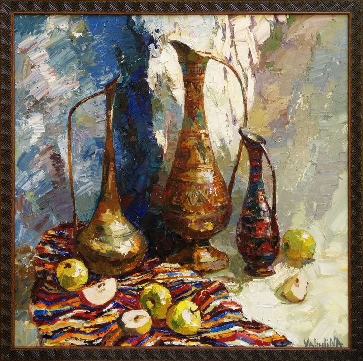 Ancient eastern pitchers and apples Still life painting Framed - Image 0