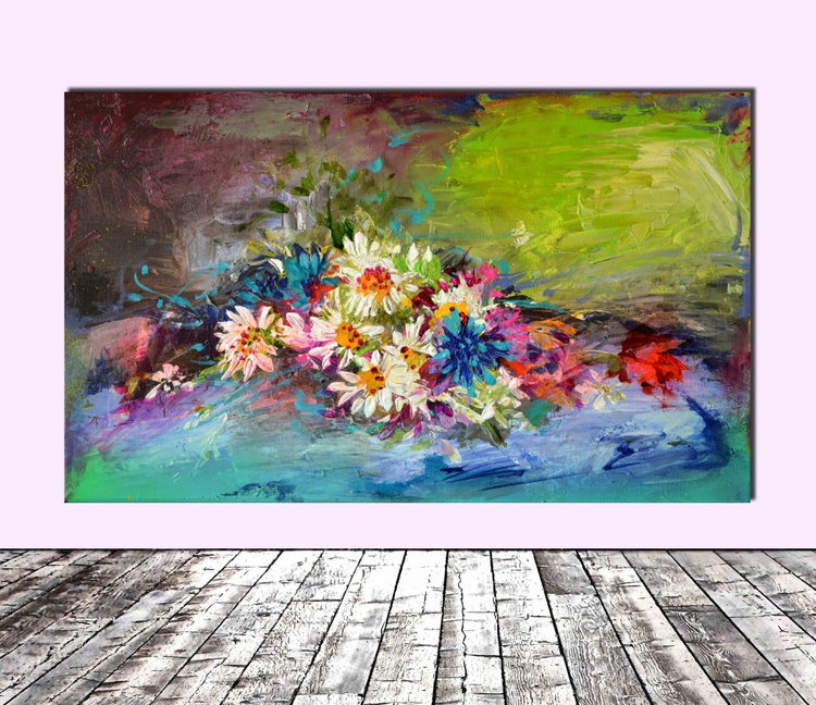 Flowers Bouquet, Original Modern Floral Oil Painting - Ready to Hang - Image 0