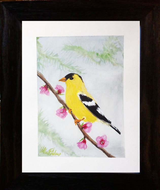""""""" Goldfinch Among Pink Blossoms """" - Image 0"""