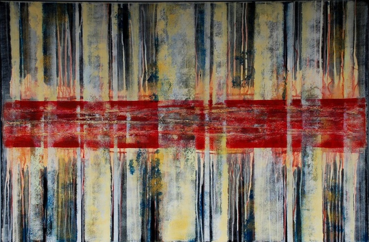 Abstract Acrylic Original Artwork / Striped Abstract Landscape Painting by ZHANNA OZOLINA - Image 0