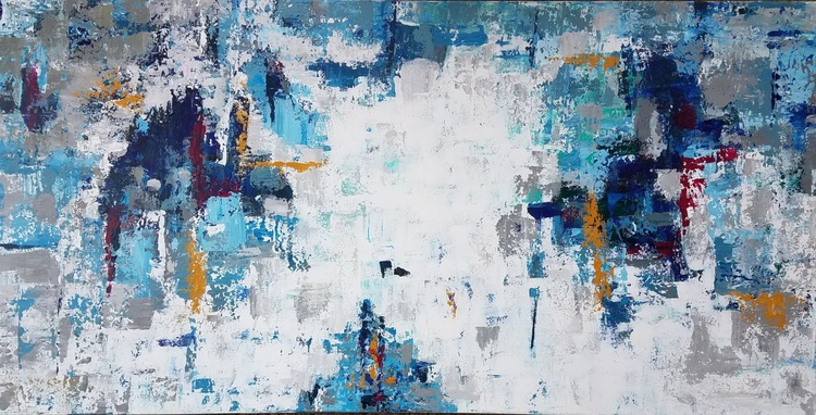 Large Abstract Acrylic Painting, Textured Blue and White Canvas Art - Image 0