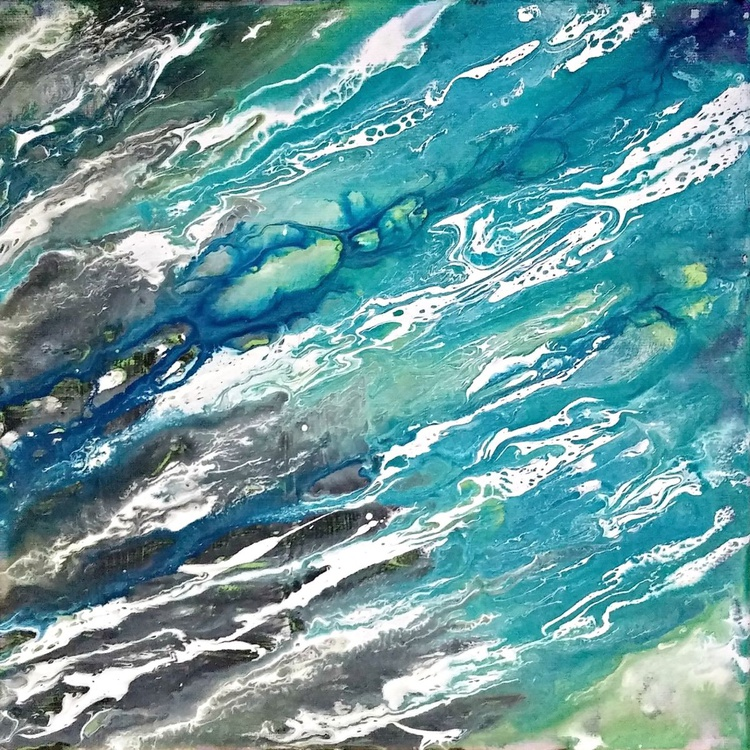 "Currents 3 // Fluid Abstract // 12x12"" Canvas - Image 0"