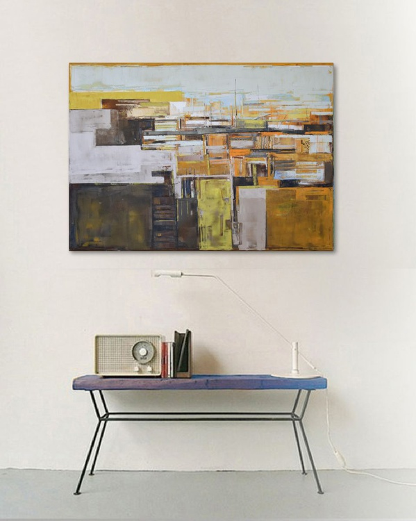 """Abstract painting orange and red modern minimalist large canvas art 39.37/27.5 100/70cm. """"Levels of cityII"""" - Image 0"""