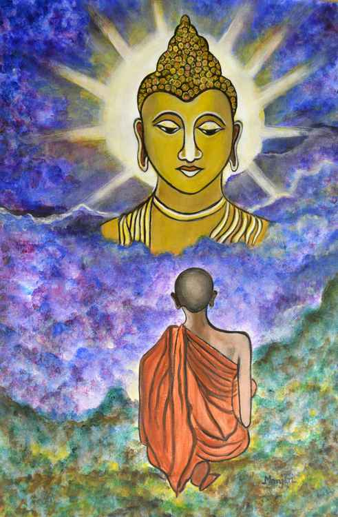 Awakening the Buddha within. A spiritual painting -