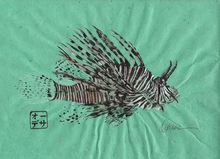 Lionfish Gyotaku (fish rubbing) on Seamist Green - Image 0