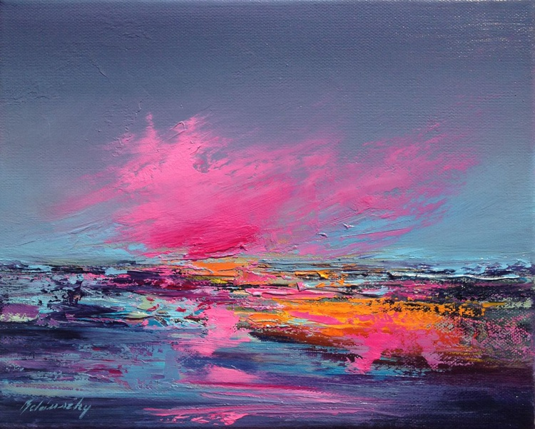 Pink Shore II - 24 x 30 cm, abstract oil painting in blue, purple and orange - Image 0