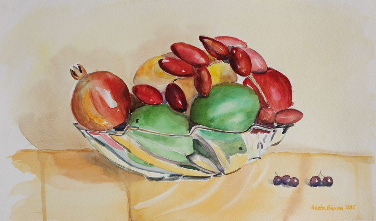 Still Life Fruits in Glass Bowl in watercolor - Image 0