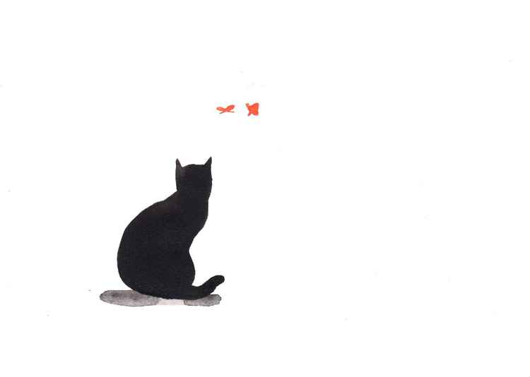 Cat and two butterflies 2115C