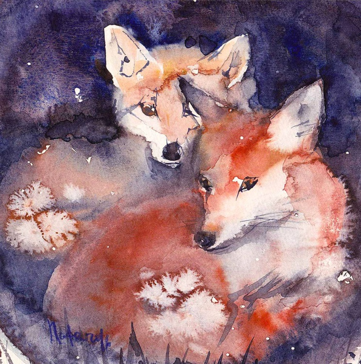 Two foxes / Framed/ Ready to hang/ - Image 0