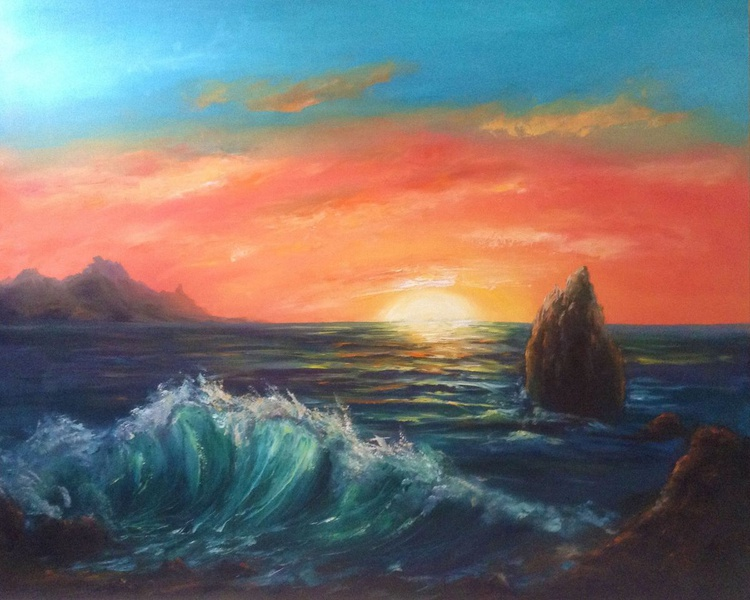 Sea sunset 2 (large size 100*80 cm) - Image 0