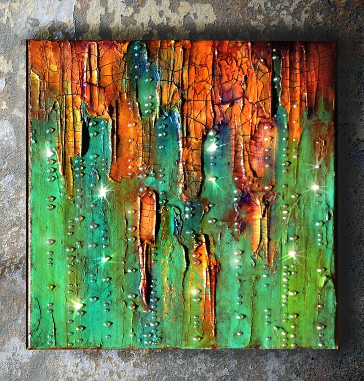 Abstract painting, mixed media canvas, called Emerald City#2 made with glass, rhinestone, acrylic. Heavy textured, small canvas - Image 0