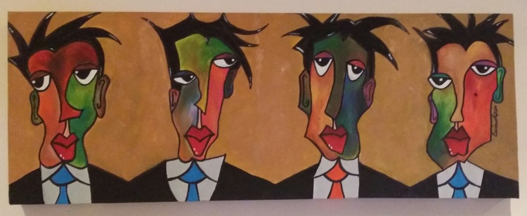 """""""Four of a kind..... but Different"""" - Unique one of a kind hand painted deep edge canvas - Image 0"""