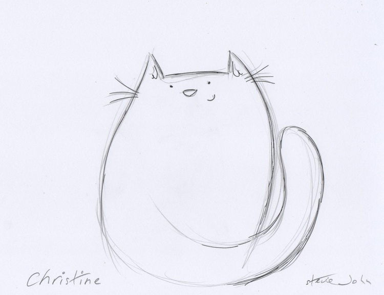 Christine the Cat, pencil drawing - Image 0