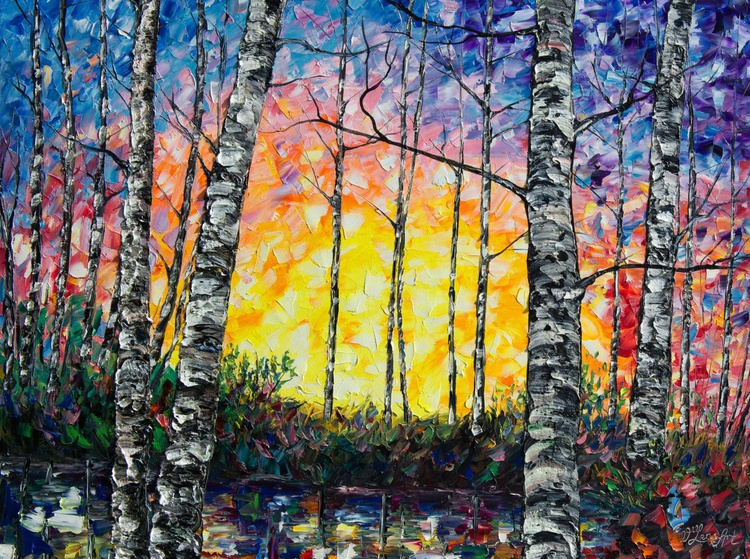 Morning Breaks  ( PALETTE KNIFE Oil Painting On Canvas ) - Image 0