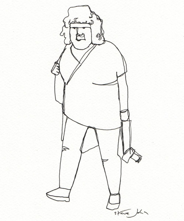 'The Weary Tourist' Continuous Line Dawing. - Image 0