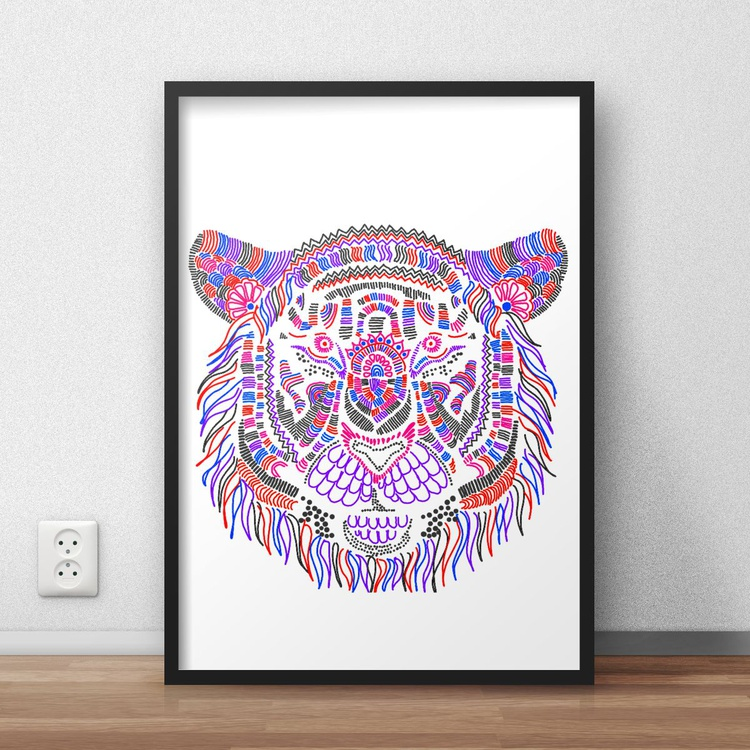 Hyper Detailed Colourful and Vibrant Tiger Digital Print Decor for Home or Nursery - Image 0