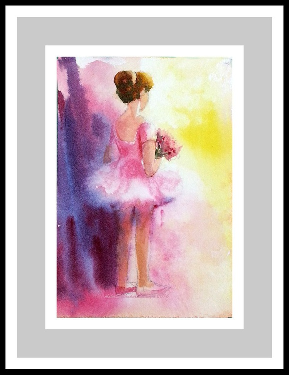 """Her First Dance -4""""x 6"""" Watercolors - Image 0"""