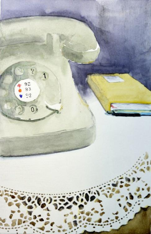 Call me - original watercolor painting by Nenad Kojic - Image 0