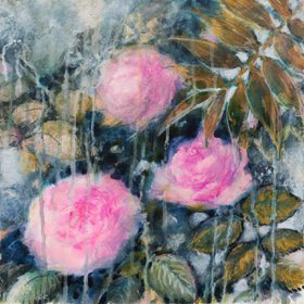 """Roses and palm"" by Fabienne Monestier"
