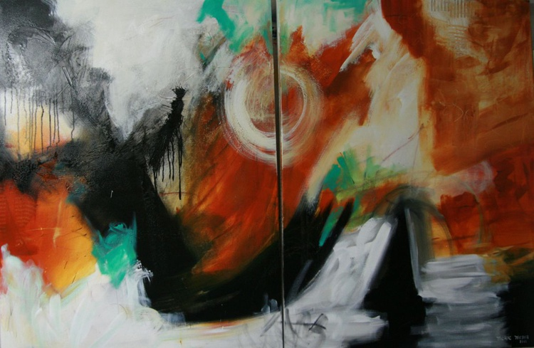 PLANET ZEE - 2 EXTRA LARGE CANVASES OF 36X48X1.5 EACH - Image 0