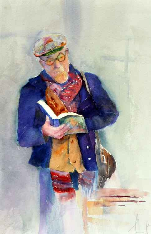 BOOK'S LOVER original watercolour 27X37