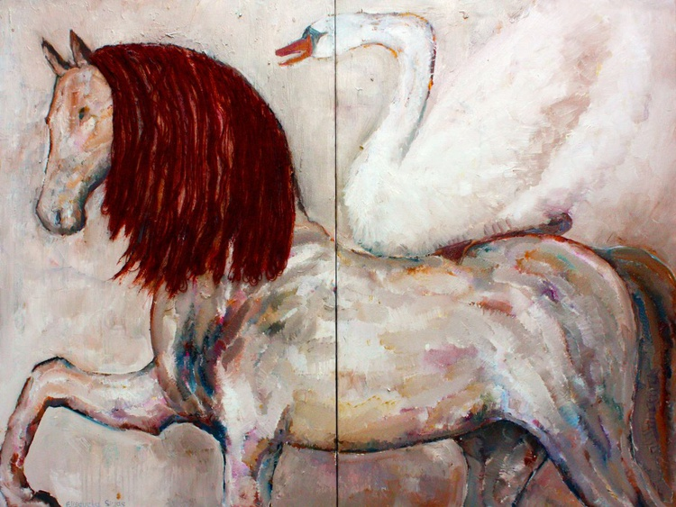 HORSE WITH SWAN 35x48', 91x122 cm - Image 0