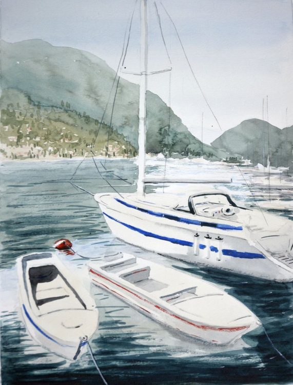 Kotor with boats - original watercolor landscape painting by Nenad Kojic - Image 0