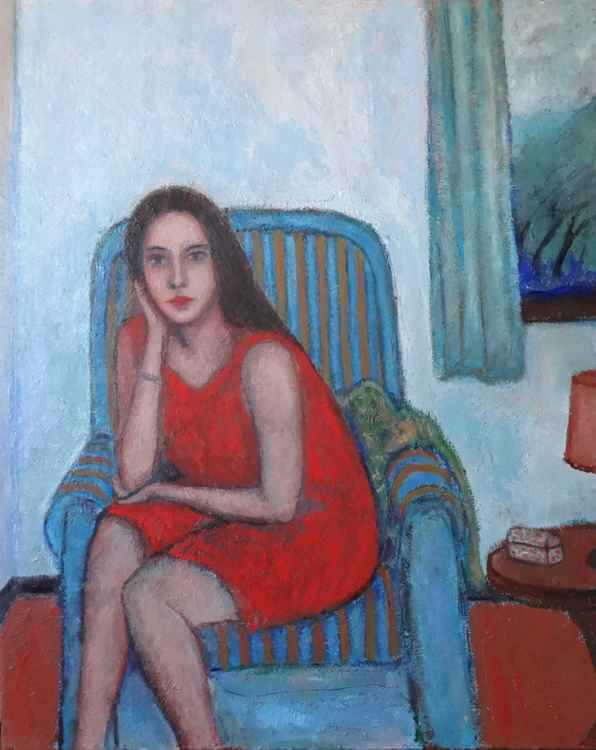 Woman on armchair with a storm outside