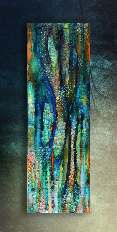Mixed media canvas, Eternal Spring, crackle painting, vertical blue gold sparkle, tree, twig, shine, green gold, textural canvas, abstract - Image 0