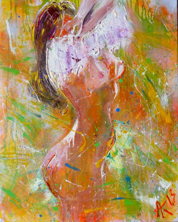 Nude, large oil painting, 80x100 cm - Image 0