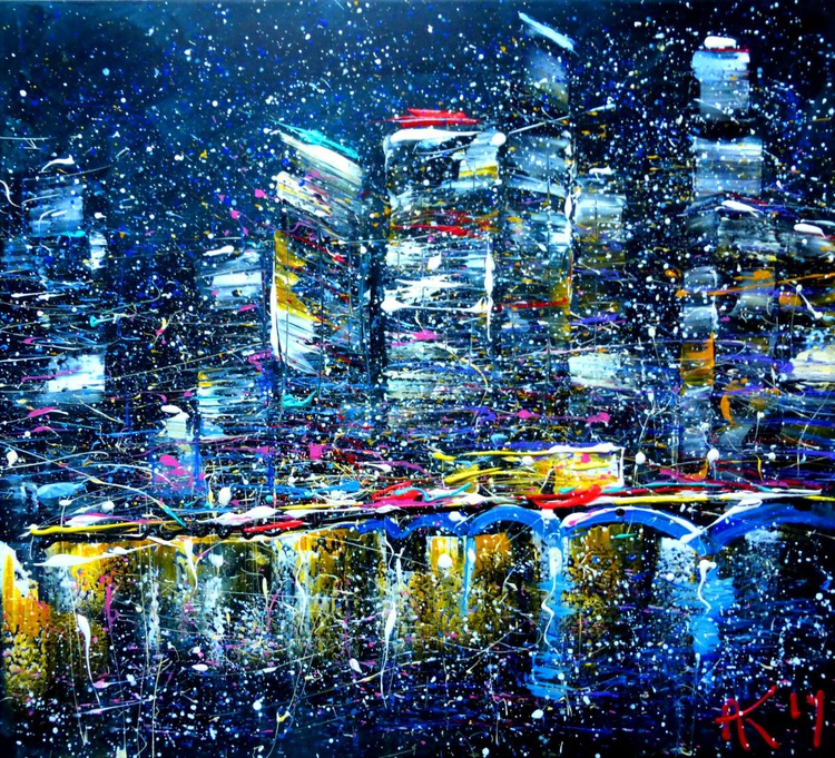 night city, large painting 105x95 cm - Image 0