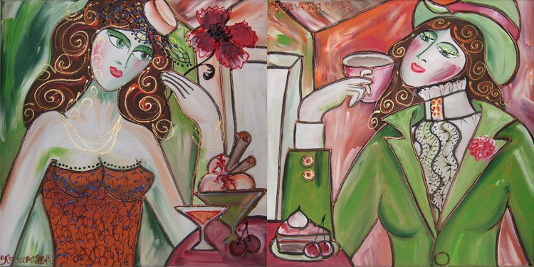 Burlesque 60-62 Portrait of Girlfriends green orange diptych 40x80 cm Paintings diptych coffee shop decor Beautiful Women acrylic on stretched canvas wall art by artist Ksavera - Image 0