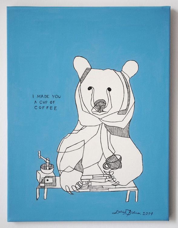 Coffee Bear On Canvas - Image 0