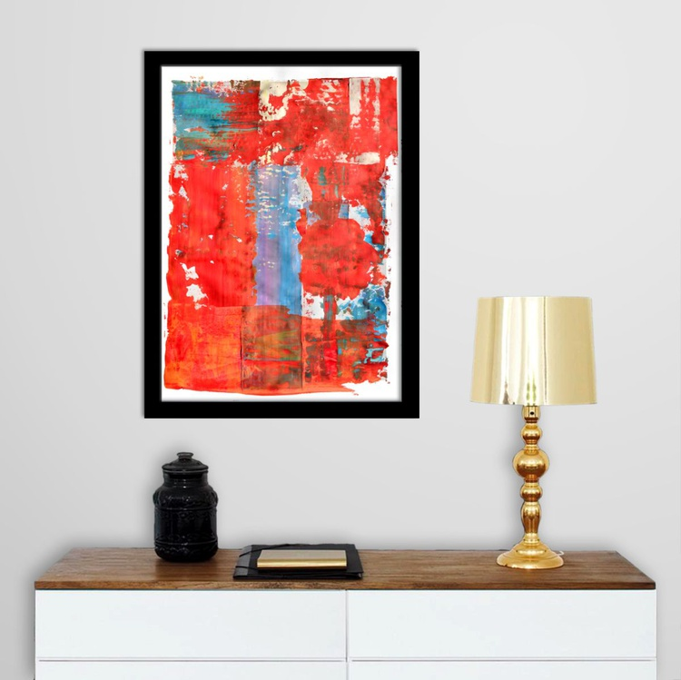 Abstract Home Decor 100 - Acrylic Abstract Art Painting On A2 Paper - Image 0