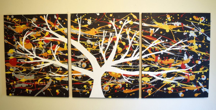 "triptych 3 panel wall art colorful images ""The White Tree"" 3 panel canvas wall abstract canvas pop abstraction 48 x 20 "" other sizes available - Image 0"