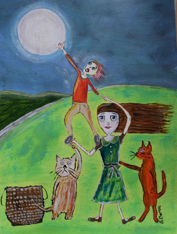 2 Children and 2 Cats trying to take the moon - Image 0
