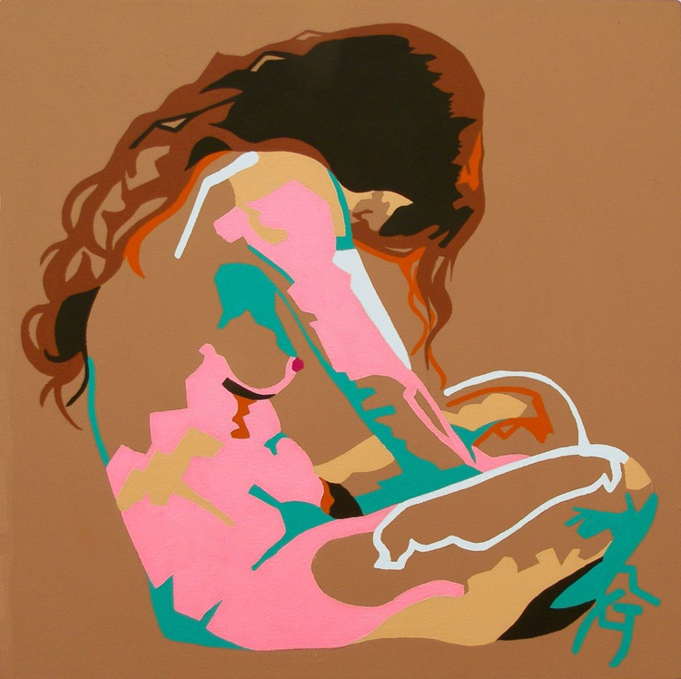 Female Nude Original Acrylic Painting Seated Nude In Pink And Blue On Sand - Image 0