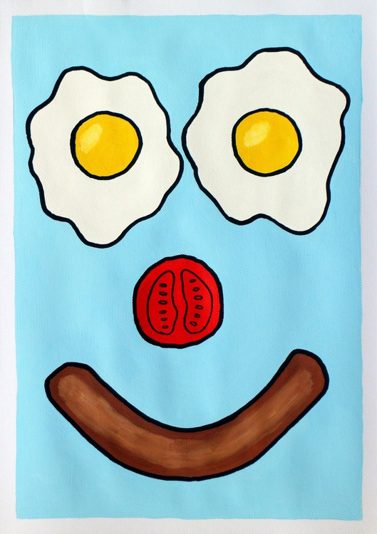 Breakfast Smile Pop Art Painting On Paper - Image 0
