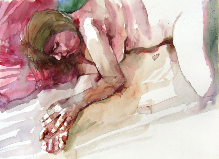 sleeping  woman ,nude lying pose with hands resting on the bed... - Image 0