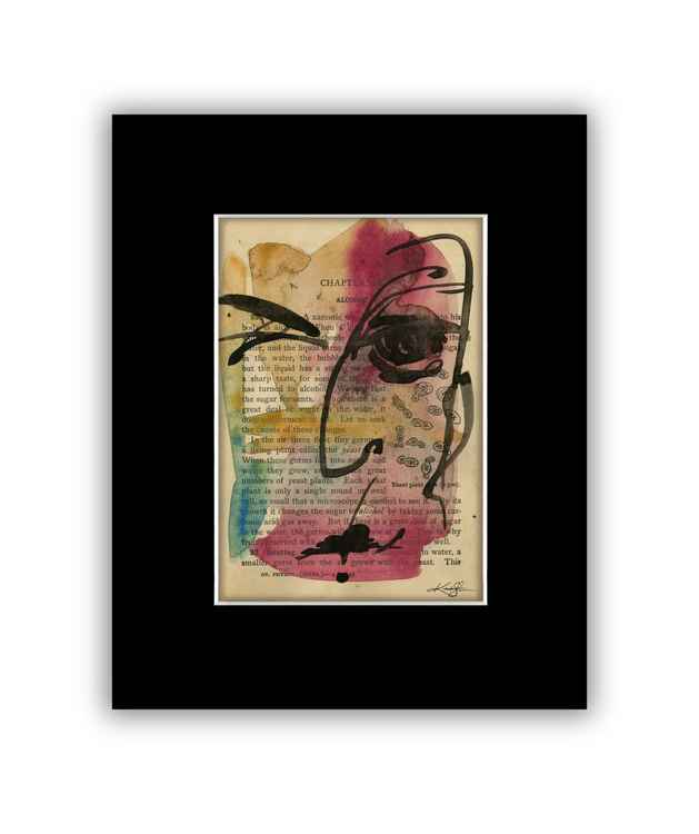 """I See 14"" on Antique Book Page - Abstract Watercolor Painting -"