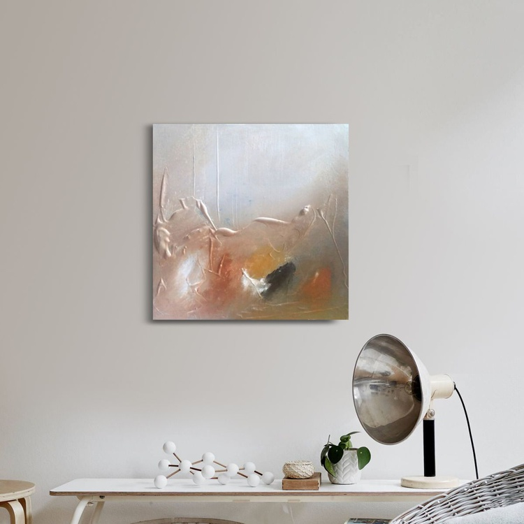 Textured abstract painting neutral colours 5 - Image 0