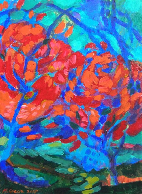 Two red trees - Image 0