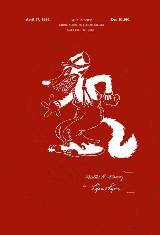 Disney Big Bad Wolf character patent - Brugundy - circa 1934 -