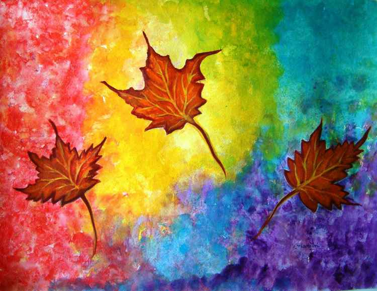 Autumn Bliss colorful abstract painting -