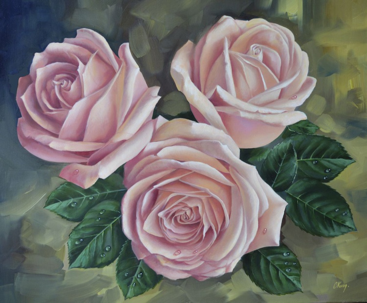 Roses, Original oil on canvas, Free Shipping - Image 0